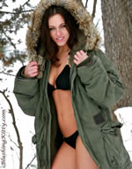 photo of bikini model in winter
